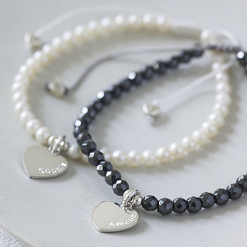 Personalised Heart Semi Precious Bracelets