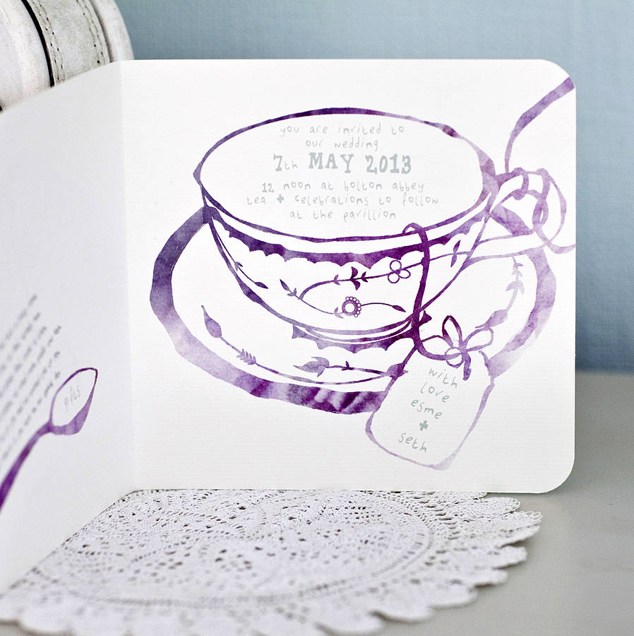 Afternoon Tea Wedding Invitation Front Inside Ceremony And Venue Details