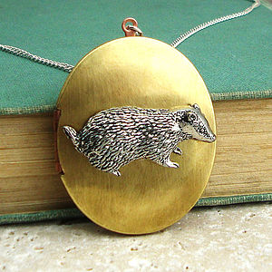 Badger Locket Necklace Pewter & Brass Pendant