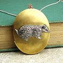 Badger Locket Necklace Pewter & Brass Pendant