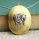Bear Locket Necklace Pewter & Brass Pendant