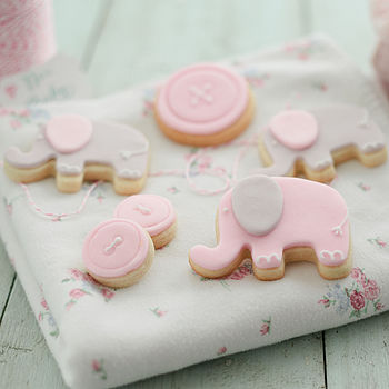 New Baby Girl Or Christening Biscuit Gift Box
