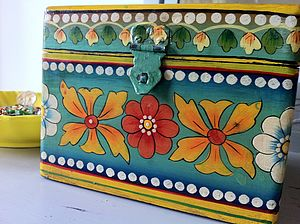 Hand Painted Wooden Storage Box - storage boxes & trunks