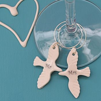 Mr & Mrs Wine Glass Charms