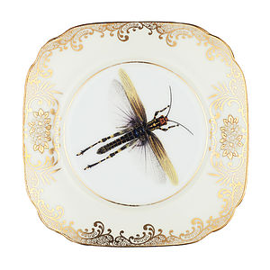 Upcycled Dragonfly Design Vintage Side Plate - crockery & chinaware