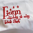 personalised apron red thread