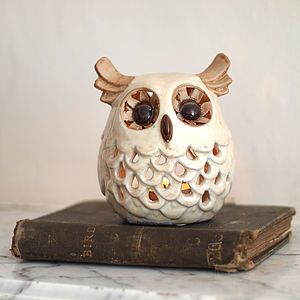 Ceramic Owl Candle Holder - home accessories