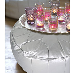 Morroccan Star Pouffe Ottoman In Silver - leather & suede cushions