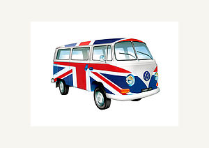 Personalised VW Union Jack Campervan Print