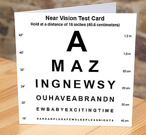 New Baby Eye Test Card