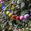 Rainbow Felt Ball Garland Grey Thread