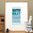Personalised New Baby Gift 'Wanted' Print