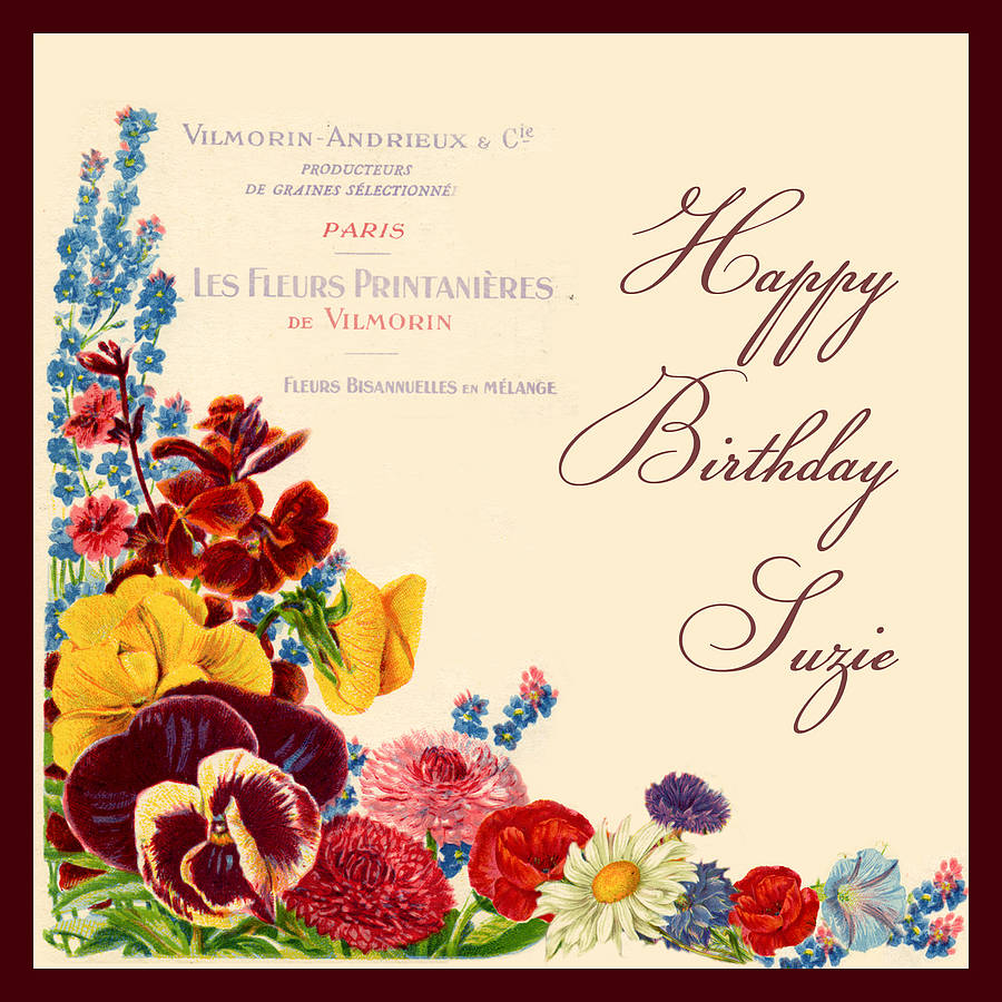vintage flowers birthday card - Happy Birthday Cards Flowers