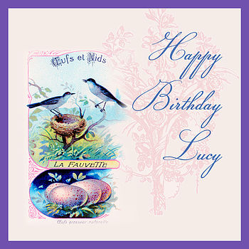 Vintage Birds Birthday Card