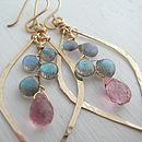 Labradorite And Quartz Leaf Hoops