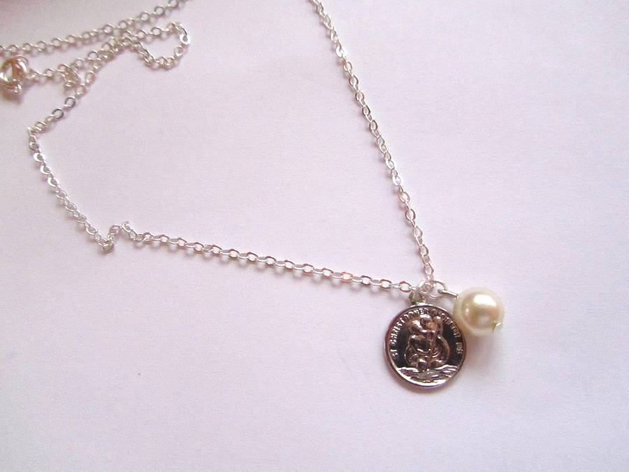 St christophers charm necklace by madison honey vintage st christophers charm necklace aloadofball Images