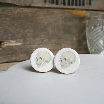 Oversized Ceramic Skull Cufflinks