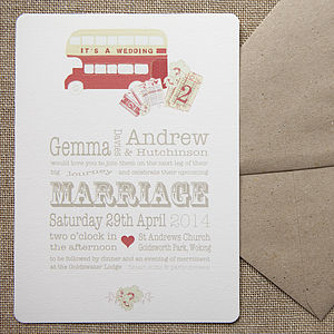 Magic Bus Wedding Stationery - invitations