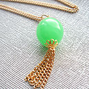 Long Green And Gold Tassel Necklace