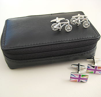 Leather Travel Cufflink Case