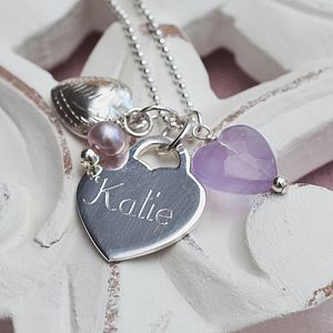 Personalised Sterling Silver Lilac Heart Necklace - for children