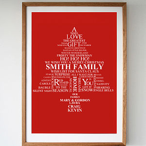 Personalised Family Christmas Tree Print - prints & art
