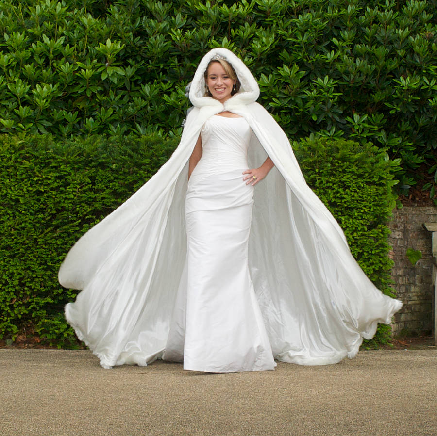 Wedding Cape: Hooded Bridal Cape With Faux Fur Hood By Wonderful Wraps