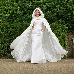 Hooded Bridal Cape With Faux Fur Hood - pashminas & wraps