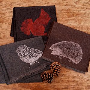 British Animal Print Lambswool Scarf - hats, scarves & gloves