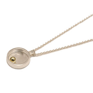 Silver Closed Circle With Gold Ball Mini Pendant