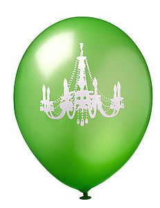 Green & White Chandelier Balloon - baby's room
