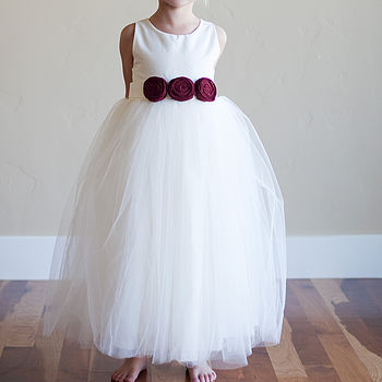 cotton and silk flower girl dress with red flowers