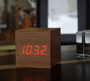 LED Teak Cube Click Clock - gifts for him