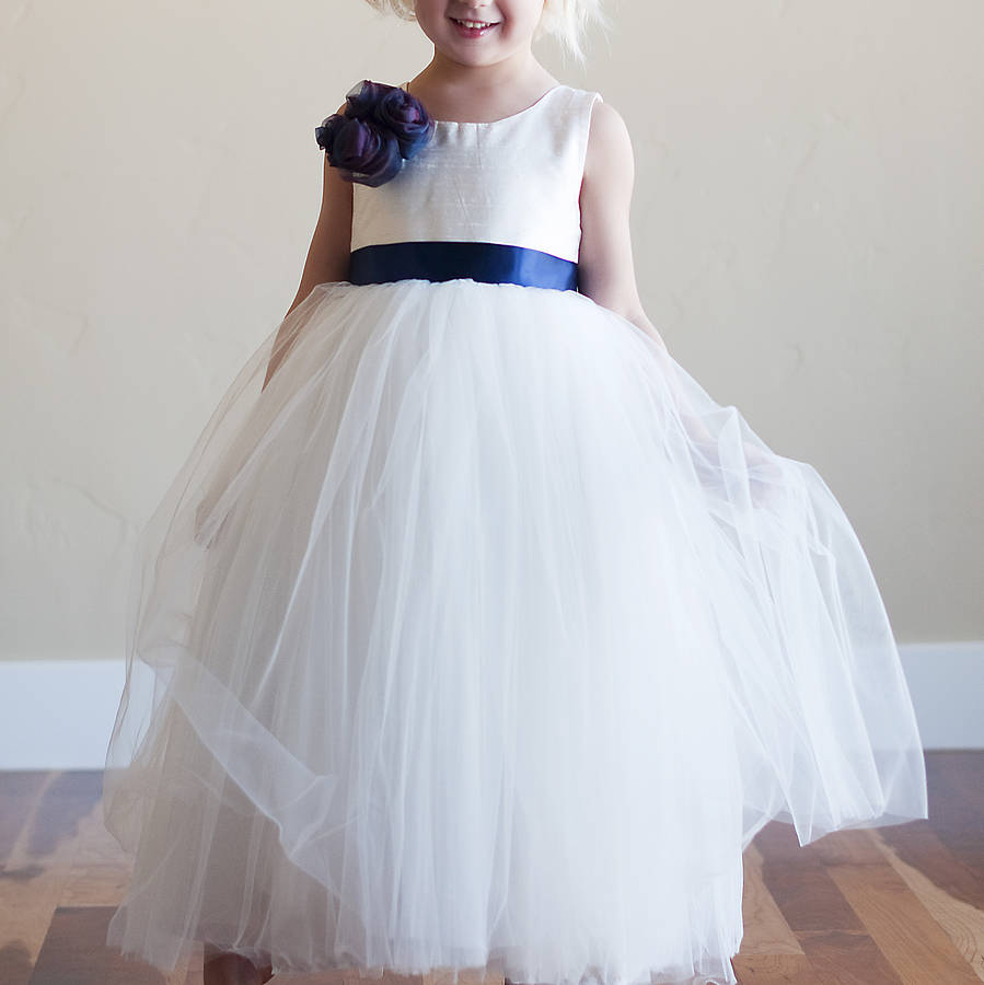 Silk flower girl dress by gilly gray notonthehighstreet white flower girl dress with blue flower and blue sash mightylinksfo