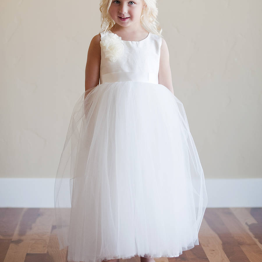 Silk Flower Girl Dress By Gilly Gray Notonthehighstreet