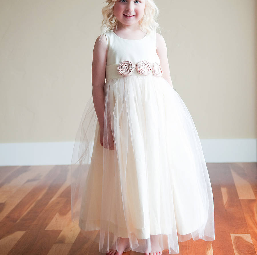 Cotton silk and tulle flower girl dress by gilly gray cotton silk and tulle flower girl dress mightylinksfo