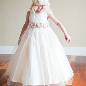 Cotton Silk And Tulle Flower Girl Dress