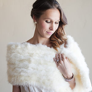 Feathered Wedding Shawl - winter styling