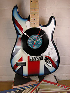 Union Jack Upcycled Guitar Clock - dining room