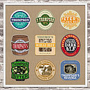 beer mats on sackcloth background