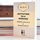 Book Themed Wedding Invitation in Grey