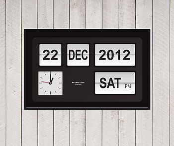 flip clock with white flips on black