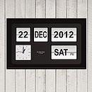 flip clock with white flips on black
