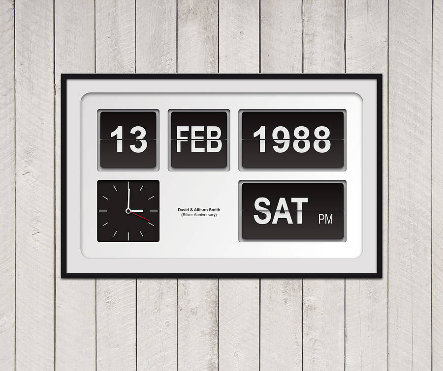 Personalised flip clock special date print by yours for White flip clock