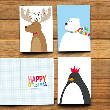 Pack Of Six Festive Animal Christmas Cards