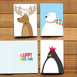 Pack Of Six Festive Animal Christmas Cards - christmas card packs