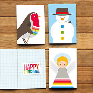 Angel Snowman And Robin Christmas Cards - christmas card packs