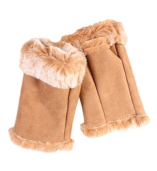 Camel Faux Fur Fingerless Gloves