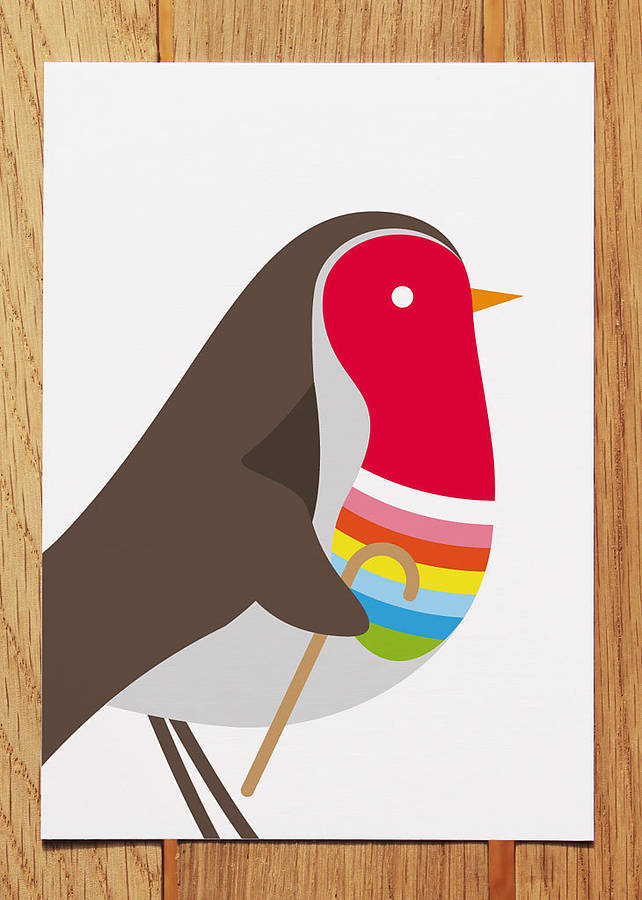Striped Robin Christmas Card