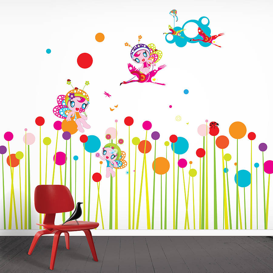 flower fairies wall stickers by funky little darlings. Black Bedroom Furniture Sets. Home Design Ideas